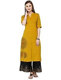 Varanga Mustard Cotton Embroidery Kurta KFF-VAR21022