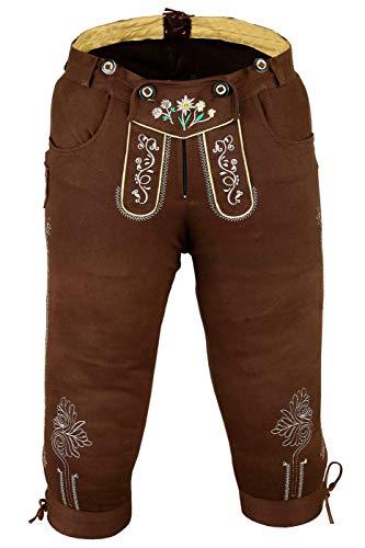 German Wear Damen Trachten Kniebundhose Jeans Hose kostüme mit Hosenträgern in der 4X Farben, Größe:48, Farbe:Dunkelbraun