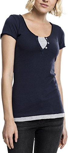 Womens Double-layer-t-shirt (Urban Classics Damen Ladies Two-Colored T-Shirt, NVY/Gry, S)