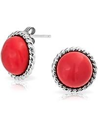 Bling Jewelry Antik Bali Seil 925er Silber Runde, Rote Korallen Ohrstecker 12mm