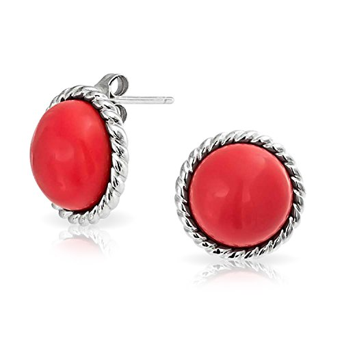 Twisted Rope Sterling Silver Synthetic Coral Stud Earrings 12mm