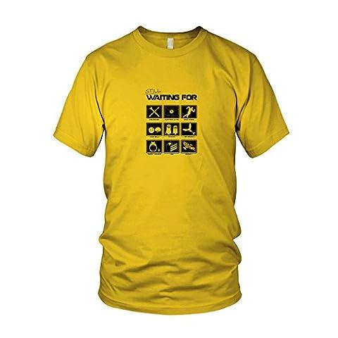 Still waiting for - Herren T-Shirt, Größe: XXL, Farbe: gelb (Totoro Kostüm-ideen)