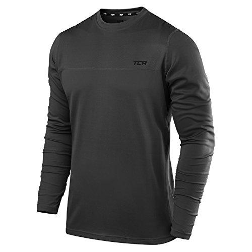 TCA Element Herren Kompressionsshirt/Funktionsshirt mit Rundhalsausschnitt - Langarm - Grau, M