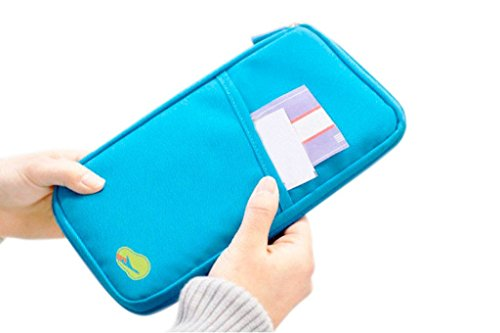 PINDIA Blue Travel Wallet Passport Holder Document Organizer Storage Bag Case Card Zippered  available at amazon for Rs.248