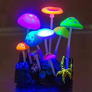 Aquarium Ornaments,Aquarium decoration, Glowing Effect Artificial Mushroom for Fish Tank Decoration Aquarium Plants