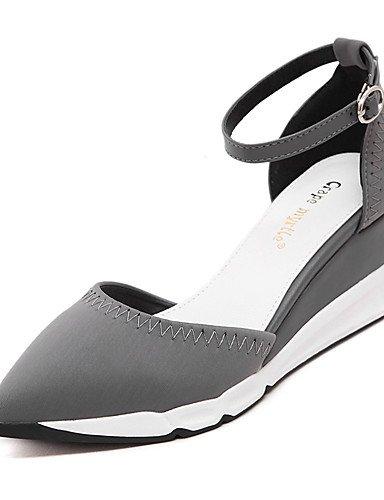 WSS 2016 Chaussures Femme-Mariage / Bureau & Travail / Habillé / Soirée & Evénement-Noir / Gris-Talon Compensé-Bout Pointu / Bout Fermé-Talons-Cuir gray-us6.5-7 / eu37 / uk4.5-5 / cn37
