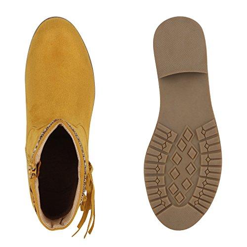 Damen Ankle Boots Fransen Ethno Look Stiefeletten Profilsohle Gelb