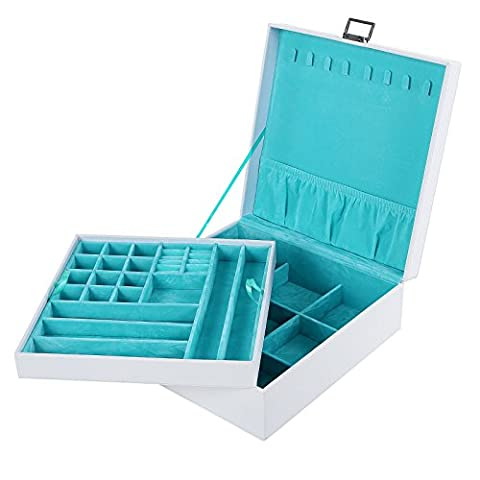 Songmics Jewelry Storage Box Earrings Drawer Organizer Case (Finitura A Polvere Nera)