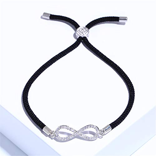 Armband Armreif,Schmuck Geschenk, New Zircon Infinity Bracelets for Women Girls Red Thread Bracelet Adjustable Women Jewelry Pulseras Mujer Brt-A66 Silver (Black Rope)