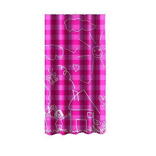 MSV 140792 - Tenda per doccia, in poliestere/plastica/polipropilene, 180 x 200 x 0,1 cm, 12 anelli inclusi, colore: rosa Vichy