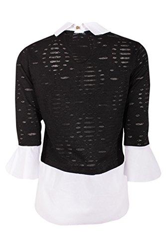 ... Moda Italy Damen Bluse Doppel Look Shirt Risse Langarm Trompetenärmel  Unifarben Sommer Freizeit Look Schwarz