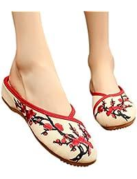 XFentech Donna Ricamo Scarpe con Zeppa - Ragazza Vintage Scarpe Tempo  Libero Pantofole Basse Mary Jane 0d17c0df8ce