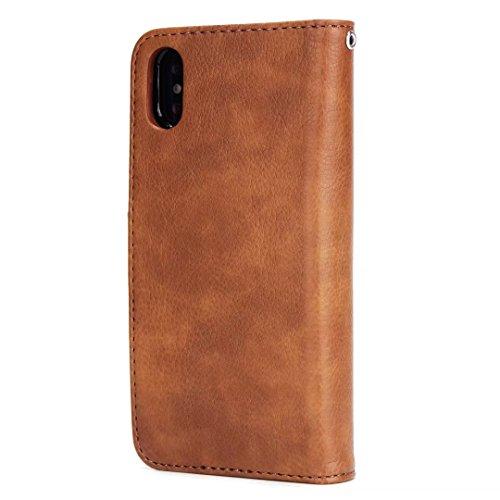 2 in 1 Abnehmbare Folio Beutel Brieftasche Stand Abdeckung Fall mit stilvolle Manetische Niet Verschluss Lanyard und Card Slots für iPhone X ( Color : Brown ) Yellow