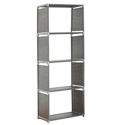 WOLTU RGB9267sb-c Lagerregal Standregal Aufbewahrungregal Regale für Bücher, 3 Ebenen mehr Raum Bücherregal,Silber,ca,49,5x30x142cm