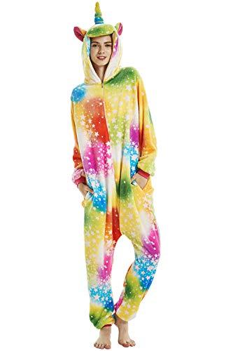Crazy lin Unicorn Karikatur Overalls Pyjama Nachtwäsche Nacht Kleidung Dress Up, Maskerade Partei Kostüme (M, Regenbogen-Stern)