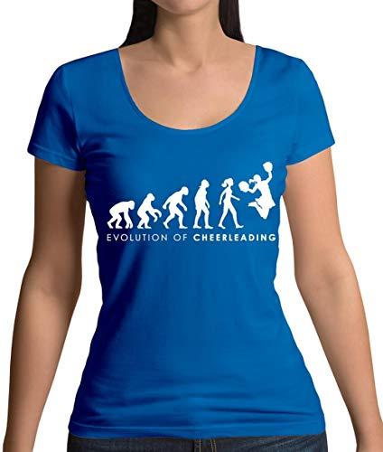 Evolution of Woman - Cheerleading - Damen T-Shirt mit Rundhalsausschnitt- Royalblau - XXL
