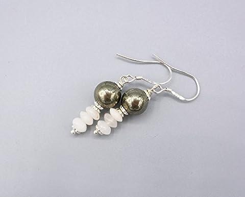 Pyrit Ohrringe - zierliche Pyrit Achat Ohrhänger - grau weiße Ohrringe - 925 Silber