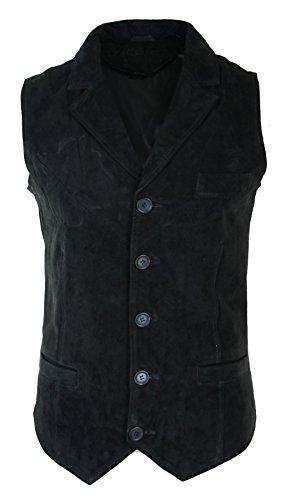 Veston gilet rétro vintage habillé décontracté daim véritable marron tan noir homme