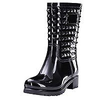 iLPM5 Womens Mid Calf Wellies Quater Heel Fashion Rain Boots Ladies Casual Wellington