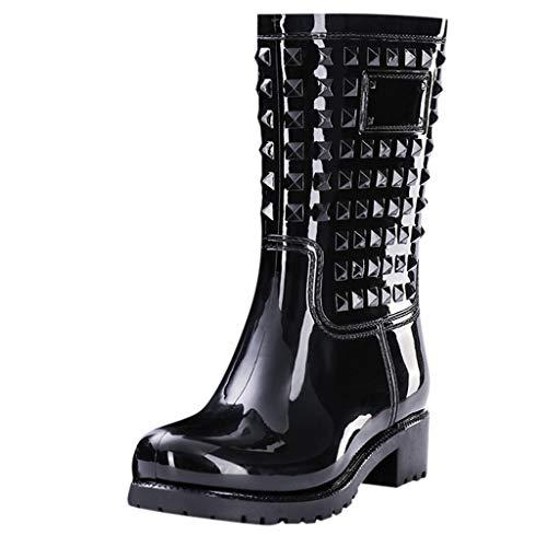 FIRMON Stivali da pioggia da donna a metà polpaccio, con rivetti in PVC, impermeabili, tacco alto quadrato Nero 39