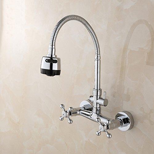 Preisvergleich Produktbild Cqq Wasserhahn Volles Kupfer in den Wandhahn In die Wand kann gedreht werden Balkon Küchenarmatur