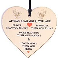 HONZEE Gifts for Women,Her Birthday Gift You Are Braver Stronger Smarter & Beautiful Inspirational Gifts for Friend Sister Daughter under 10 Pounds Wooden Hanging Plaque Thinking of You Gifts