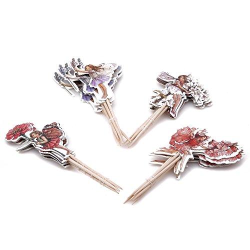 (LnLyin 24pcs Flower Fairy Mädchen Cupcake Toppers Party Picks Essen Auswahl Kuchen Dekor)