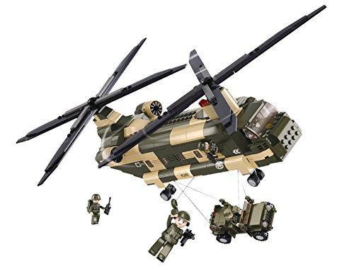 Funstones - Baustein Set US Army Transport Hubschrauber United States Armee + Figuren + Auto Bausatz -