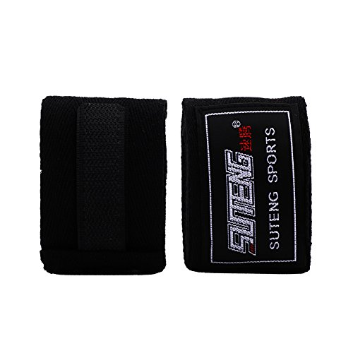 Dilwe Boxhandschuhe Handlappen Elastische Handverpackungen Hand Wrap für Boxen Kickboxen Muay Thai Training 4 Farben für Erwachsene mit 1 Paar (Schwarz)