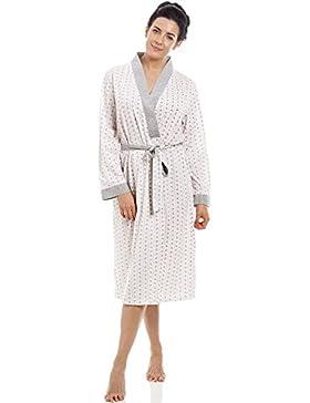 Vestaglia leggera in policotone con gessatura a fiori - rosa e grigio