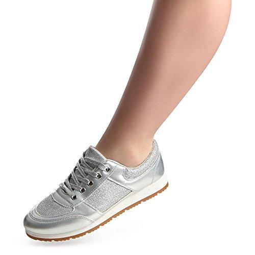 topschuhe24765Femme Sneaker Chaussures de sport Argent - Argent