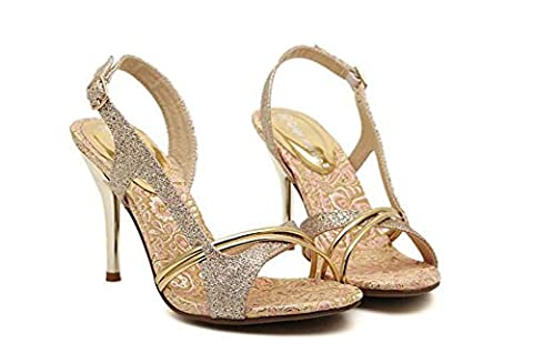Onfly Pumpe Scarpin Sandalen Damen Charmant Gold gefärbt Offener Zeh High Heel Hohl Slingback Stilett Abendschuhe Hochzeit Schuhe Eu Größe 34-39 , gold , 38
