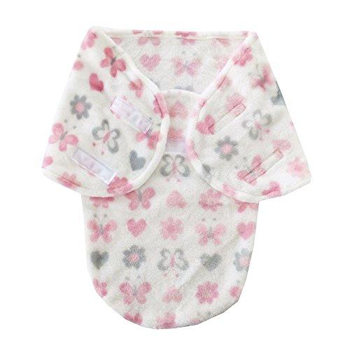 Baby Wickeldecke Pucksack | Fleece | weiß rosa grau Blumen Schmetterlinge Einheitsgröße 0-3 Monate