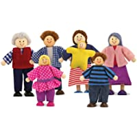 Melissa & Doug 7-Piece Poseable Wooden Doll Family for Doll's House (5-10 cm each)