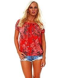 7c25017fa491cc Zarmexx Damen Bluse Oberteil Shirt Blumenmuster Carmenbluse Kurzarmshirt…