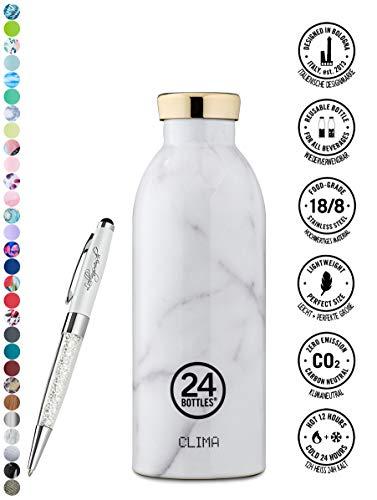 24 Bottles Trinkflasche Clima 330 ml | 500 ml | 850 ml versch. Farben inkl. Lieblingsmensch Kugelschreiber, Größe:500 ml, Farbe:Carrara