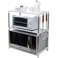 Muebles de cocina Ajustable de acero inoxidable multifuncional horno de microondas estante estante de pie tipo