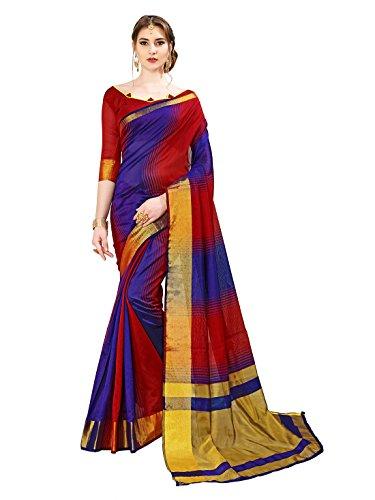 Glory Sarees Women's Cotton Silk Handloom Saree(jari129-blue_red)