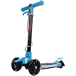COSTWAY Patinete Plegable de Aluminio con Freno Altura Ajustable con LED Luz Ruedas Grande City Scooter Roller para Niño (Azul)