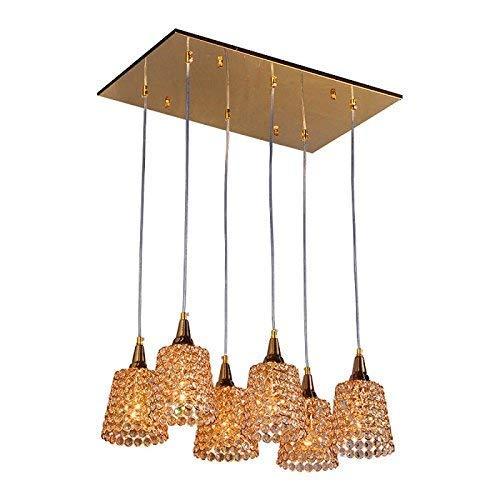 DGHDFH Luxus 6 stücke Gold Kristall Hörner Esszimmer Deckenpendelleuchten Moderne Restaurant Pendelleuchten Bar Zähler Anhänger Kronleuchter Leuchten ● - Beleuchtung Küche Zähler
