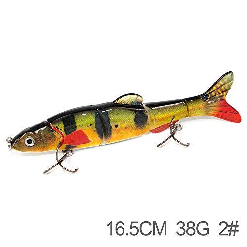 Kefaith Angelköder Swimbait Bass, Pike und Musky Topwater schwimmende Harte Köder Swimbaits mit Barb-Höhen-Haken (Farbe : T2) -