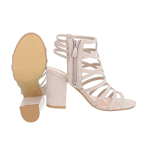 High Heel Sandaletten Damenschuhe Plateau Pump Riemchen Reißverschluss Ital-Design Sandalen / Sandaletten Beige