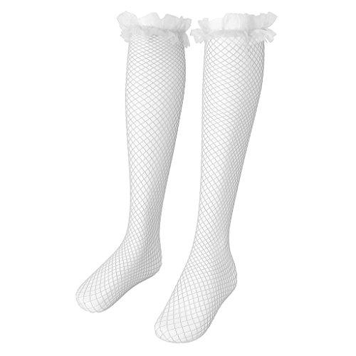Baoblaze Sexy Damen Fischnetz Stockings Halterlose Strümpfe Netz Strümpfe Strapsstrümpfe mit Breiter Spitzenabschluss - Weiß (Spitzenabschluss Breite)
