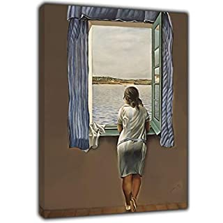 A Girl at The Window by Salvador DALI Reprint ON Wood Framed Canvas Picture Wall Art for Home Decoration Ready to Hang 20'' x 16 inch -18mm Depth