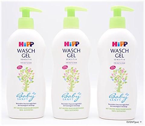 3x HiPP Babysanft Waschgel Haut & Haar - 400ml - 3er Pack - Art.Nr.: 9530 - PZN 00668117 - Exclusives EVENTpac Produktbundle
