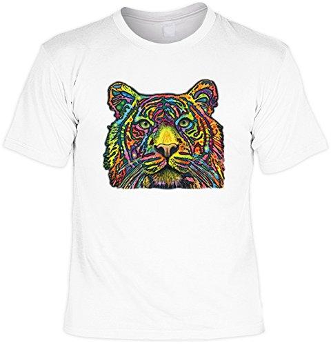 T-Shirt mit buntem Tiger Motiv - Tiger - Geschenk für alle Tierliebhaber und Katzenfans - weiss Weiß