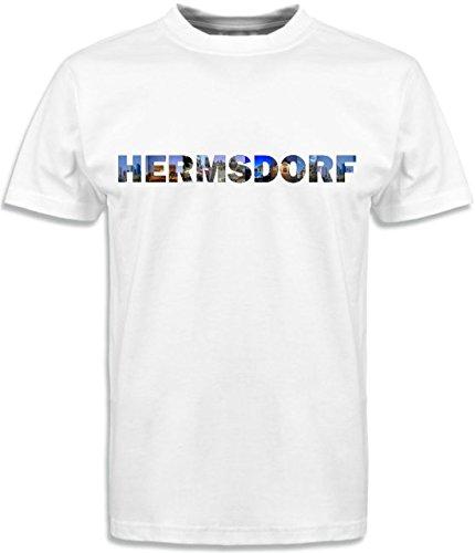 T-Shirt mit Städtenamen Hermsdorf Weiß