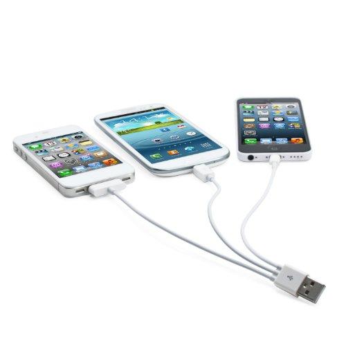 Incutex 4 in 1 Multi-USB-Ladekabel Adapterkabel USB Ladegerät Handy Multicharger Kabel geeignet für Apple Samsung&mehr