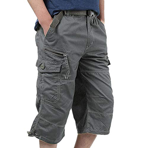 Liusdh Shorts Herren Sommer Lose Baggy Pants Beiläufige Lose Stretch Cropped Pants Overalls(Gray,3XL) -