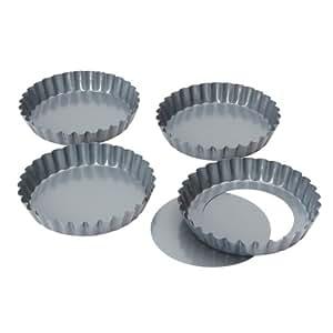 Dexam Non-stick loose base Mini Quiche/Tart pan, 12 cm x 2cm Set of 4